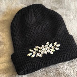 Black knitted Winter bedazzled beanie